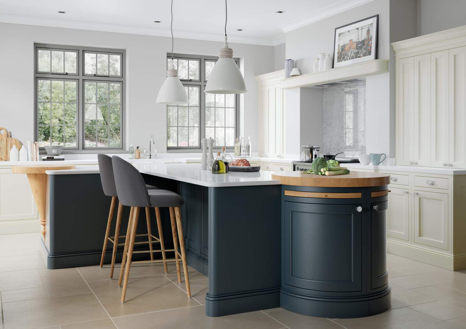 Solid Wood Inframe kitchen – Belgravia Dark Blue and Porcelain