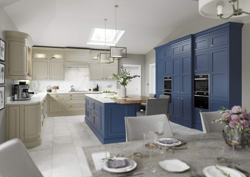 Belgravia Parisian Blue and Stone inframe kitchen