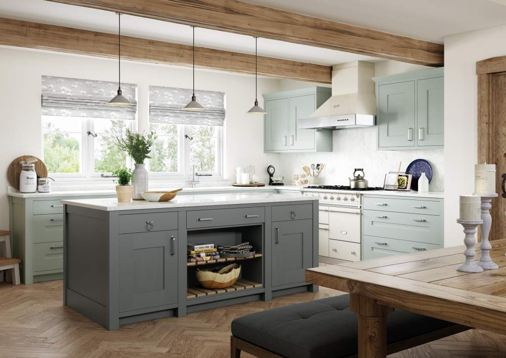 Clonmel Light Blue and Gun Metal Grey kitchen