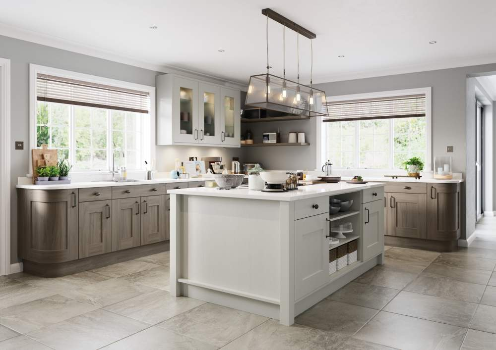Clonmel Light Grey and Carbon kitchen with a large island