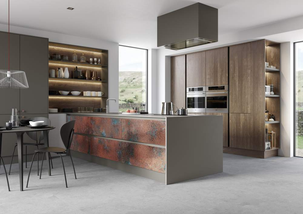 Modern Ferro Oxidized Copper and Rezana Espresso Oak Kitchen