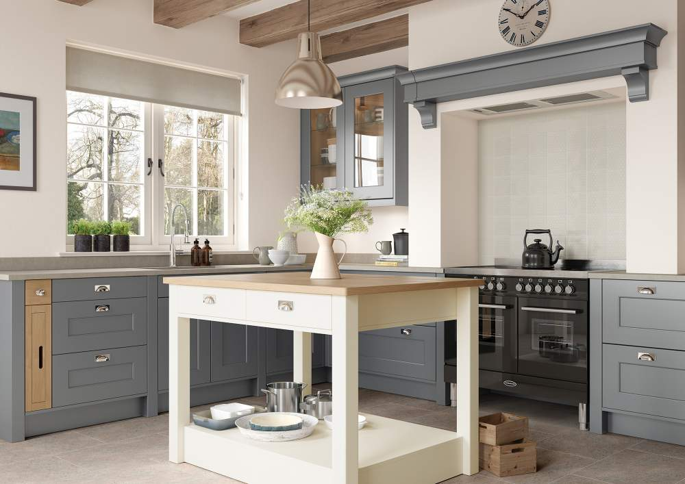 Traditional Country Style Florence Dust Grey and Porcelain kitchen