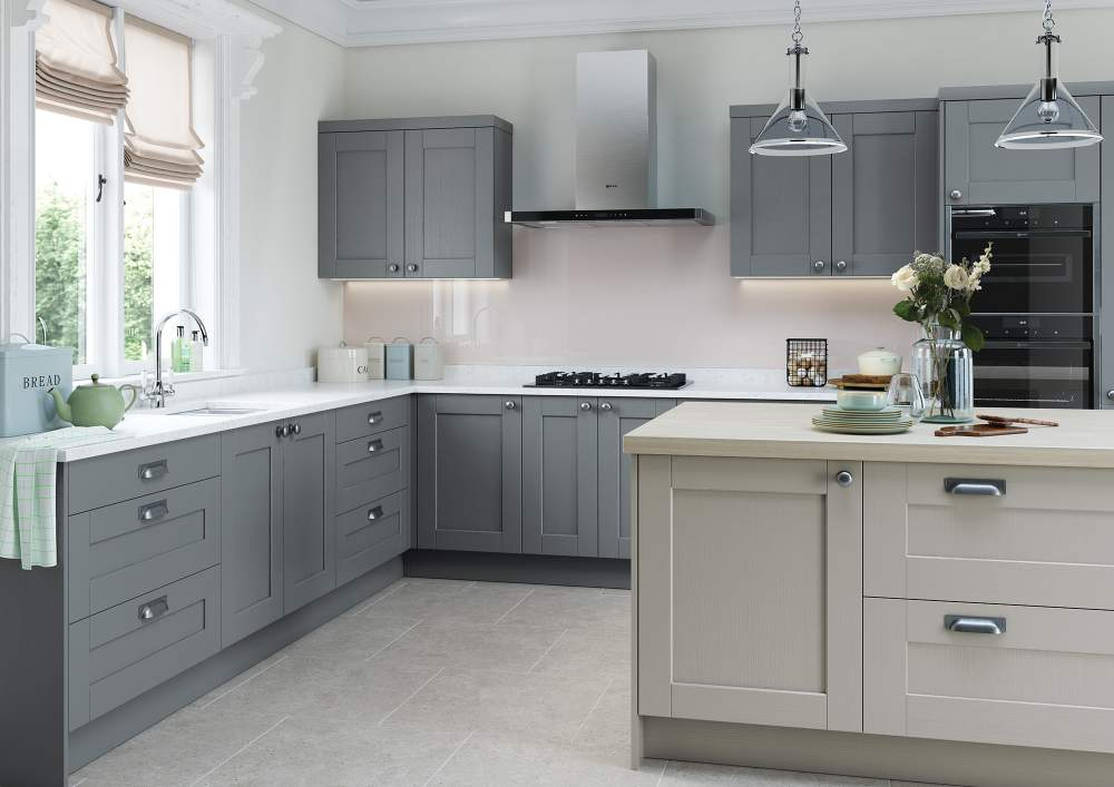 Two tone Kensington Light Grey and Dust Grey Kitchen