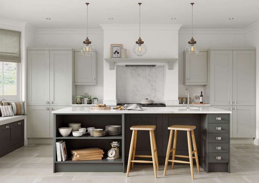 Two tone Kensington Mussel and Lava Kitchen