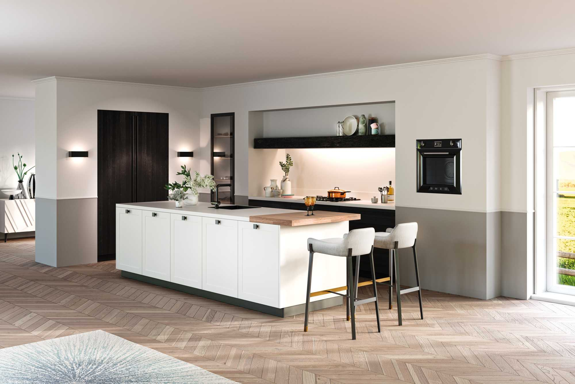 Three tone kitchen: You Black OL, Micron MX White and Memory OL Zero Blackcombination