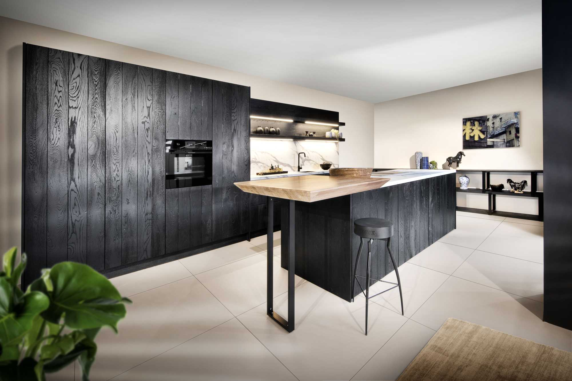 German Rotpunkt Row Black Kitchen with Industrial Style shelving system