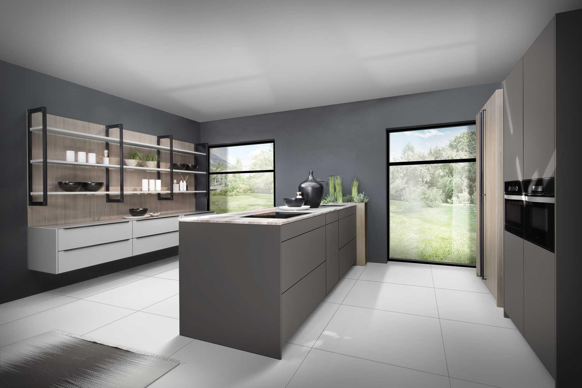 Three tone modern german kitchen: ZeroxUmbra, Kashmir and City Grey Oak combination.
