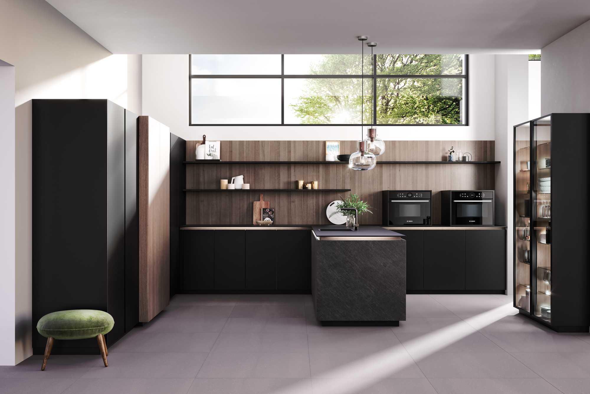 Extravagant True Handleless German kitchen: Ceramica Black Rock, XeroxCity Brown Oak and Fenix Black