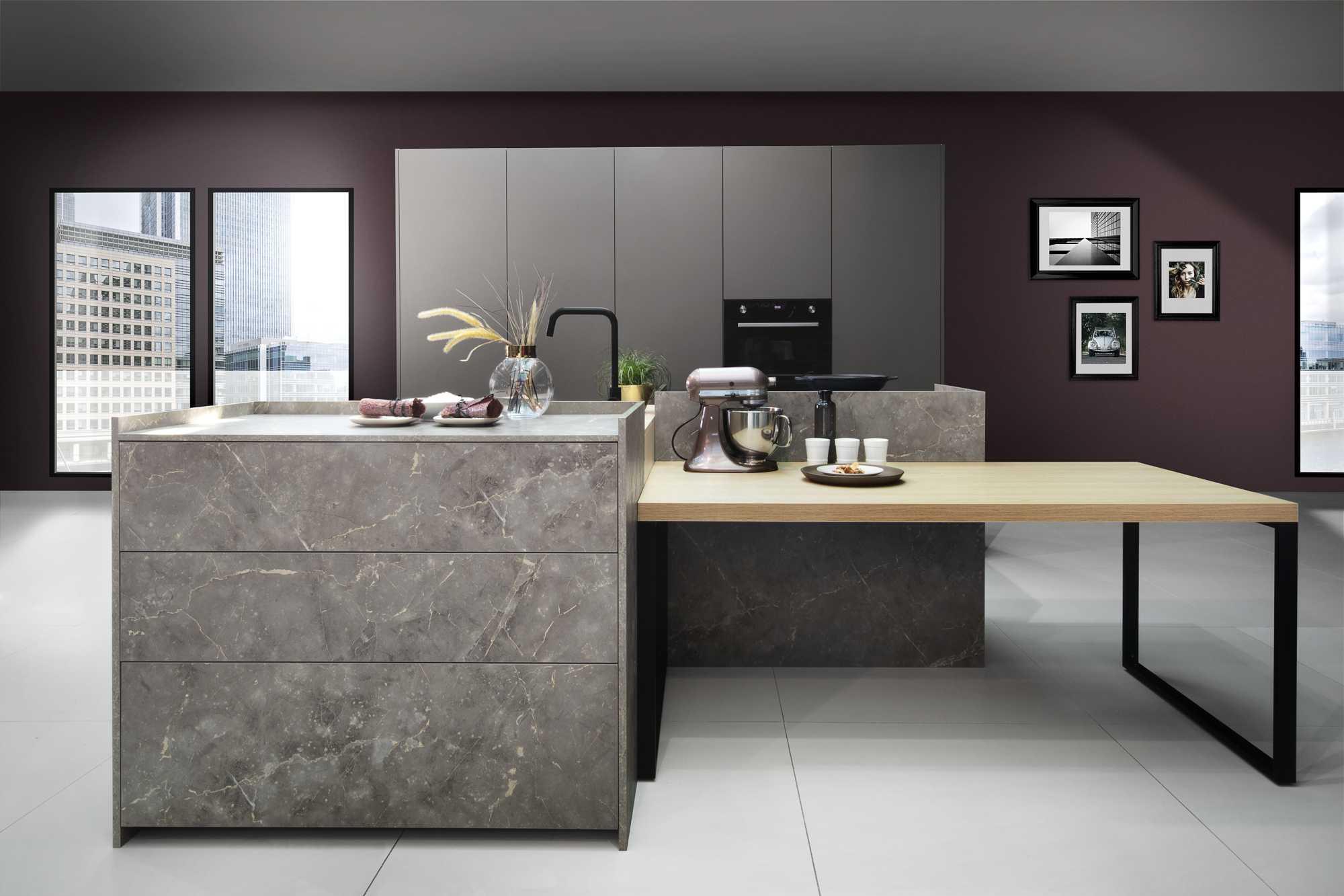 ZeroxFine Matt City Nature Oak, Umbra Marble KQ And Power Umba LX Kitchen With Extra Tall Larder units