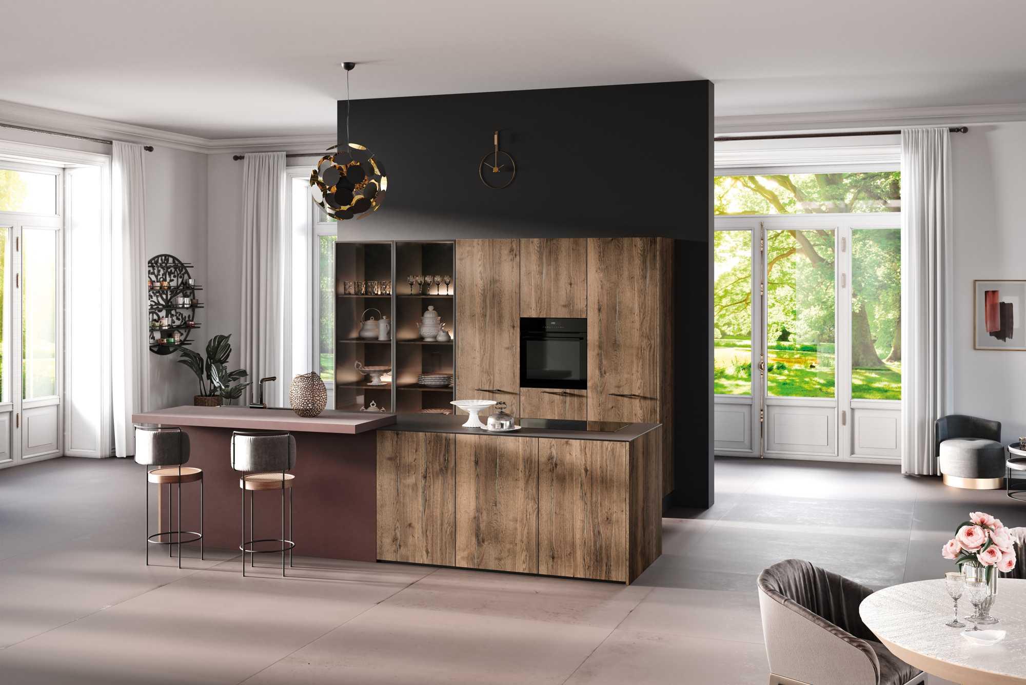 ZeroxTinfilledOak Kitchen With Tall Glass Larder Units