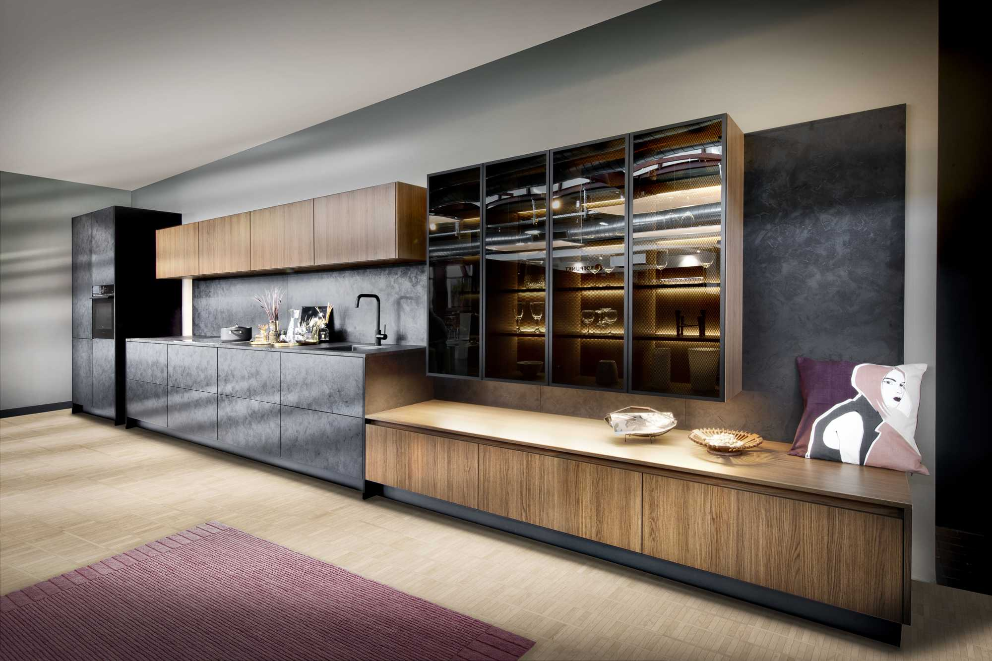 Iron Black Steel Zerox City Brown Oak. German kitchen.