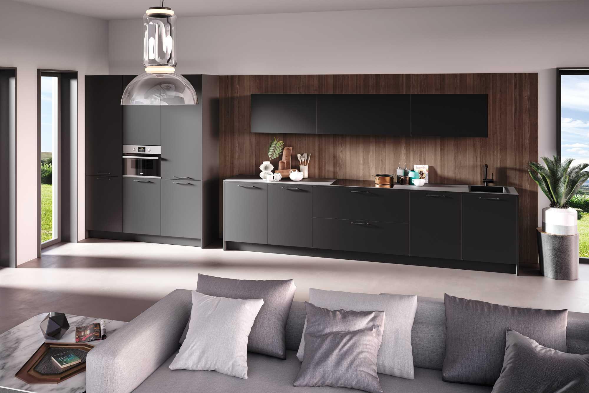 German ZeroxHPL XT Black Kitchen with Grigio Bow Handle