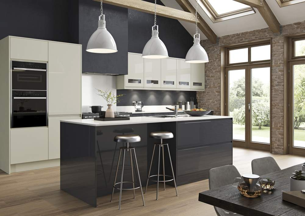 Strada Gloss Graphite and Porcelain Kitchen