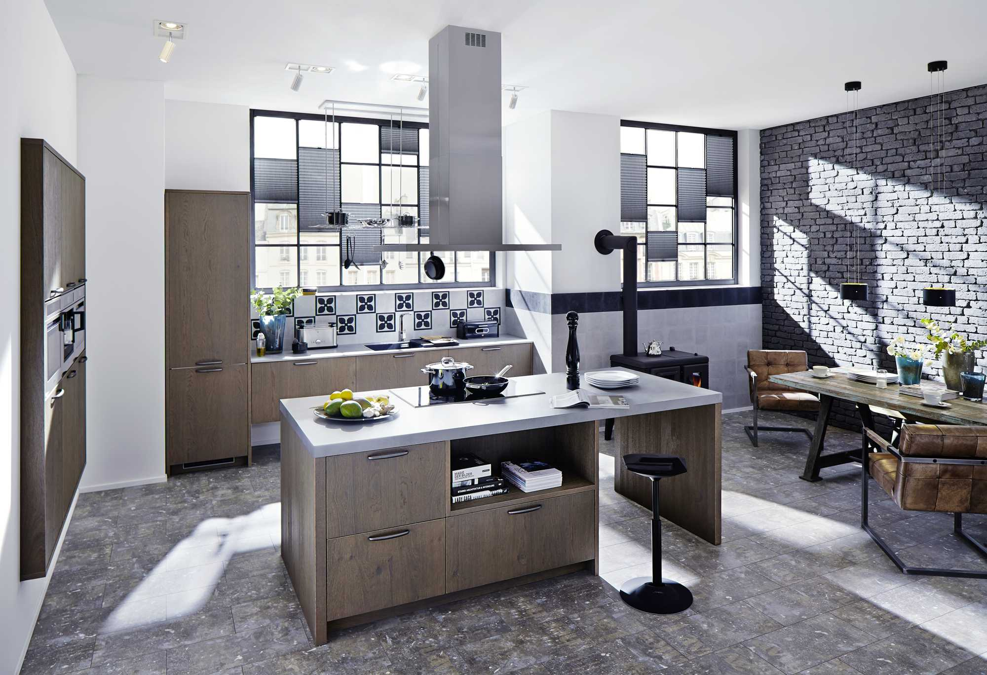 Memory Pastel Loam Kitchen. Build into wall Tall Cabinets