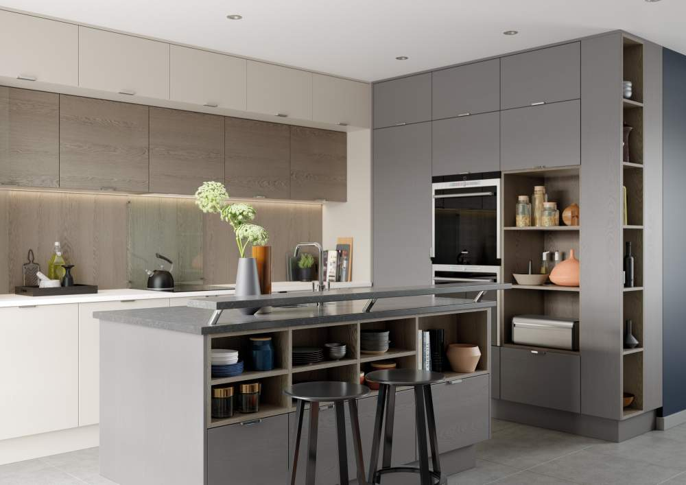 Tavola Shell and Dust Grey kitchen open unit island