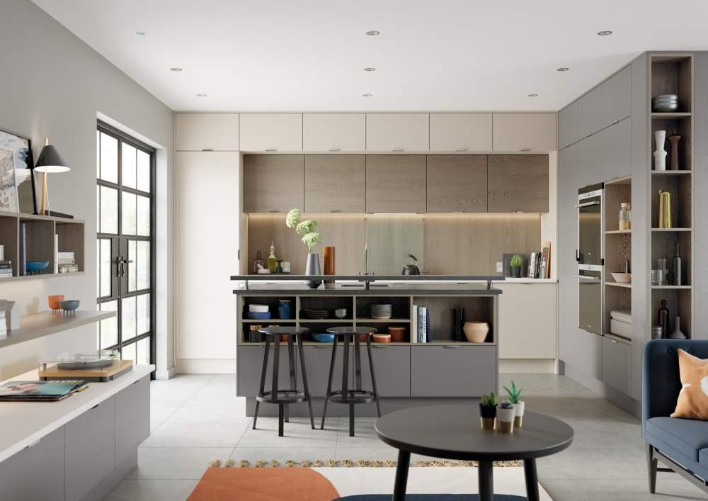Ultra modern real wood veneer Tavola Shell and Dust Grey kitchen
