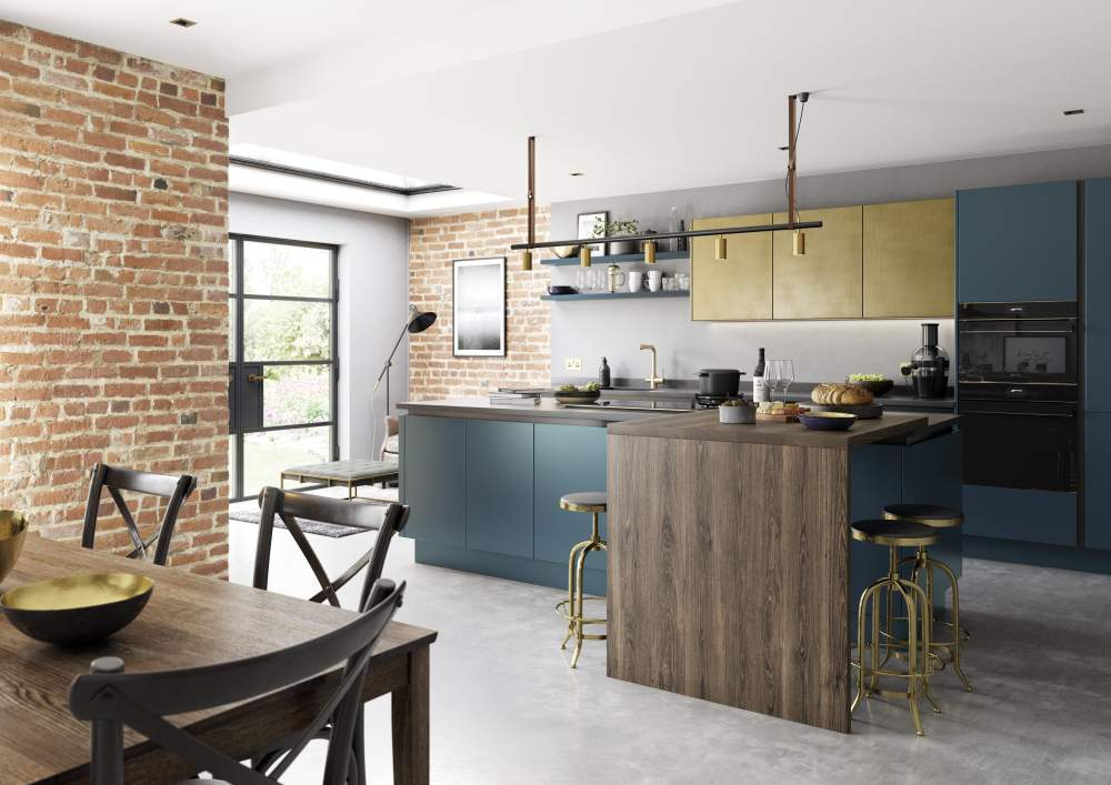 Contemporary true Handleless Zola Matte CMS Blue and Ferro Brass kitchen