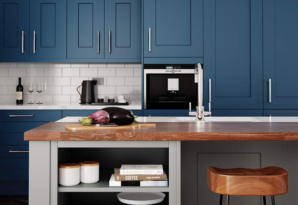 Classic-Traditional-Shaker Style Clonmel Kitchen Stone and Parisian Blue
