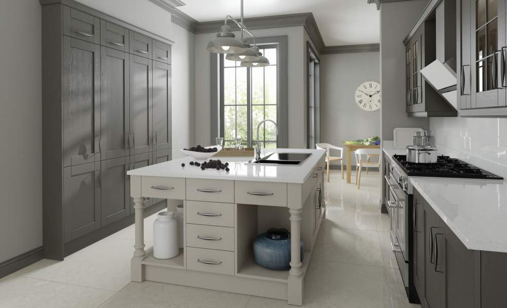 Madison painted lava and light grey kitchen