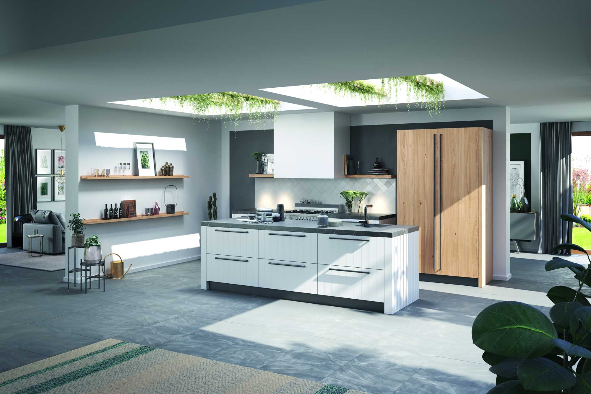 Two tone kitchen: Duet White LX and Memory New Forest Oak CL