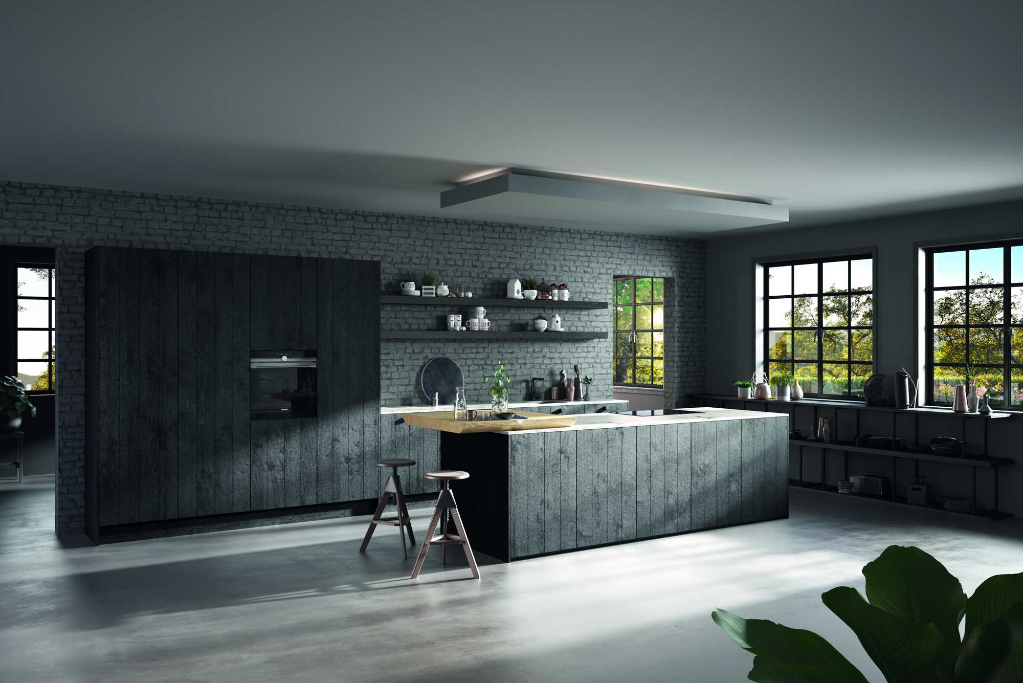 ROW Black – handmade wooden kitchen with deep grooves and knots