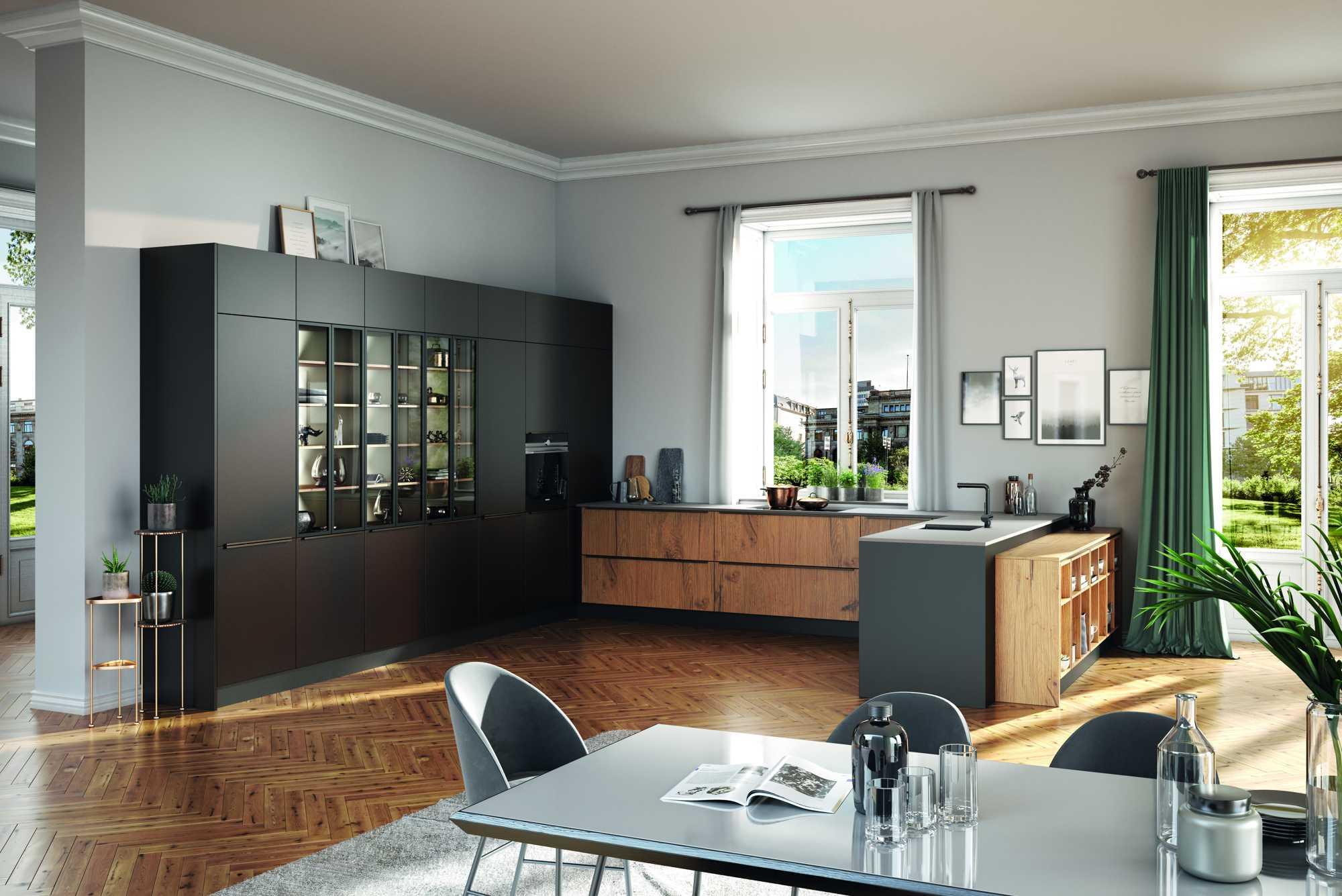 Open ZeroxAbbey Split Oak and Arabica Kitchen with peninsulaand industrial style glass doors