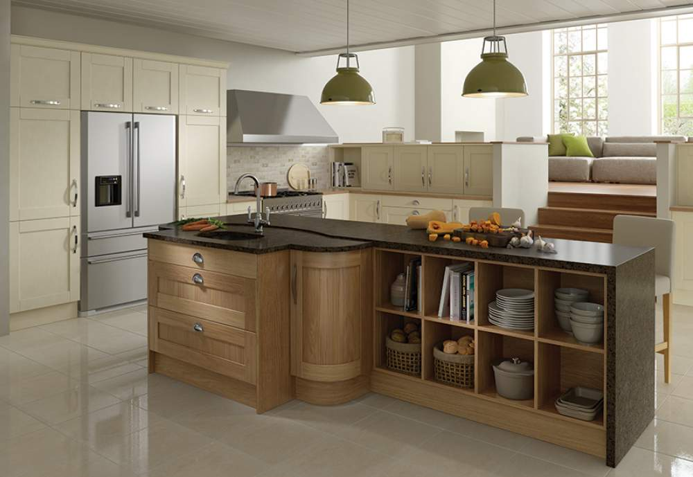 Modern contemporary Olympia oak kitchen island with white cabinets