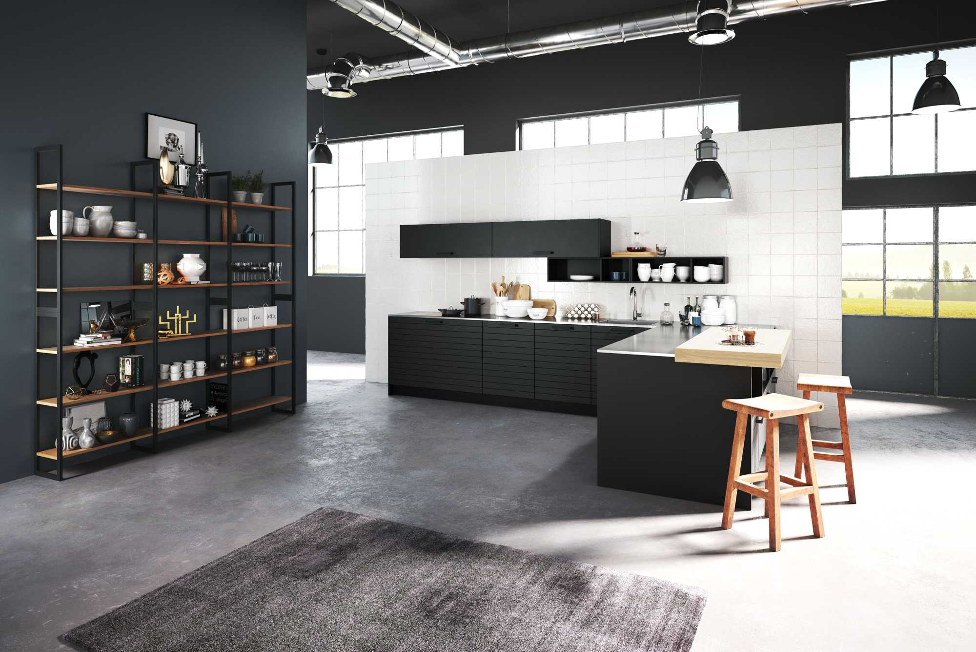 Black in combination with a wooden breakfast bar on the peninsula. ZeroxCarbon and Horizon Black