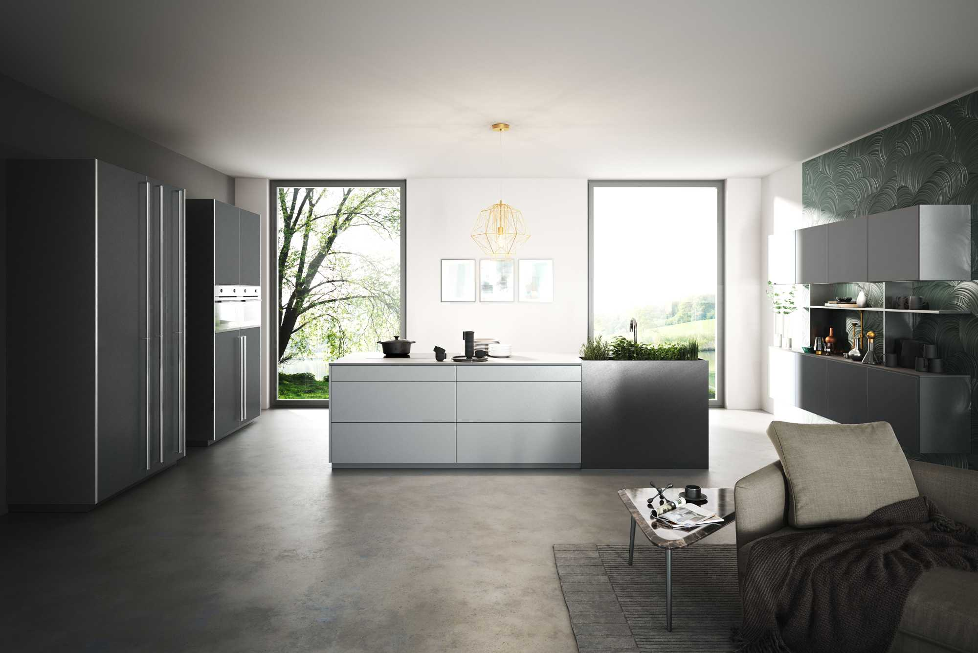 Open andspaciousTitanium metal-line kitchen
