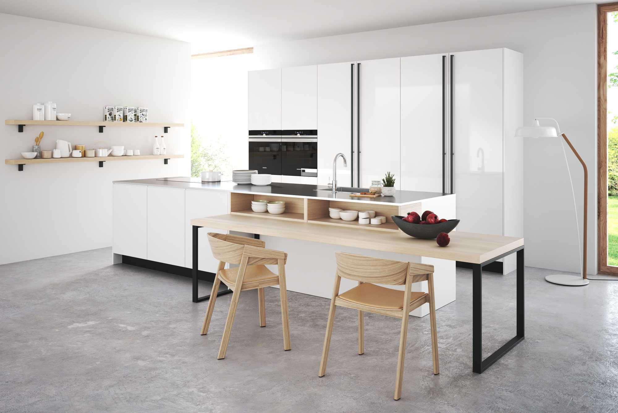 Modern Style Zerox Snow Kitchen With a Large Breakfast Bar