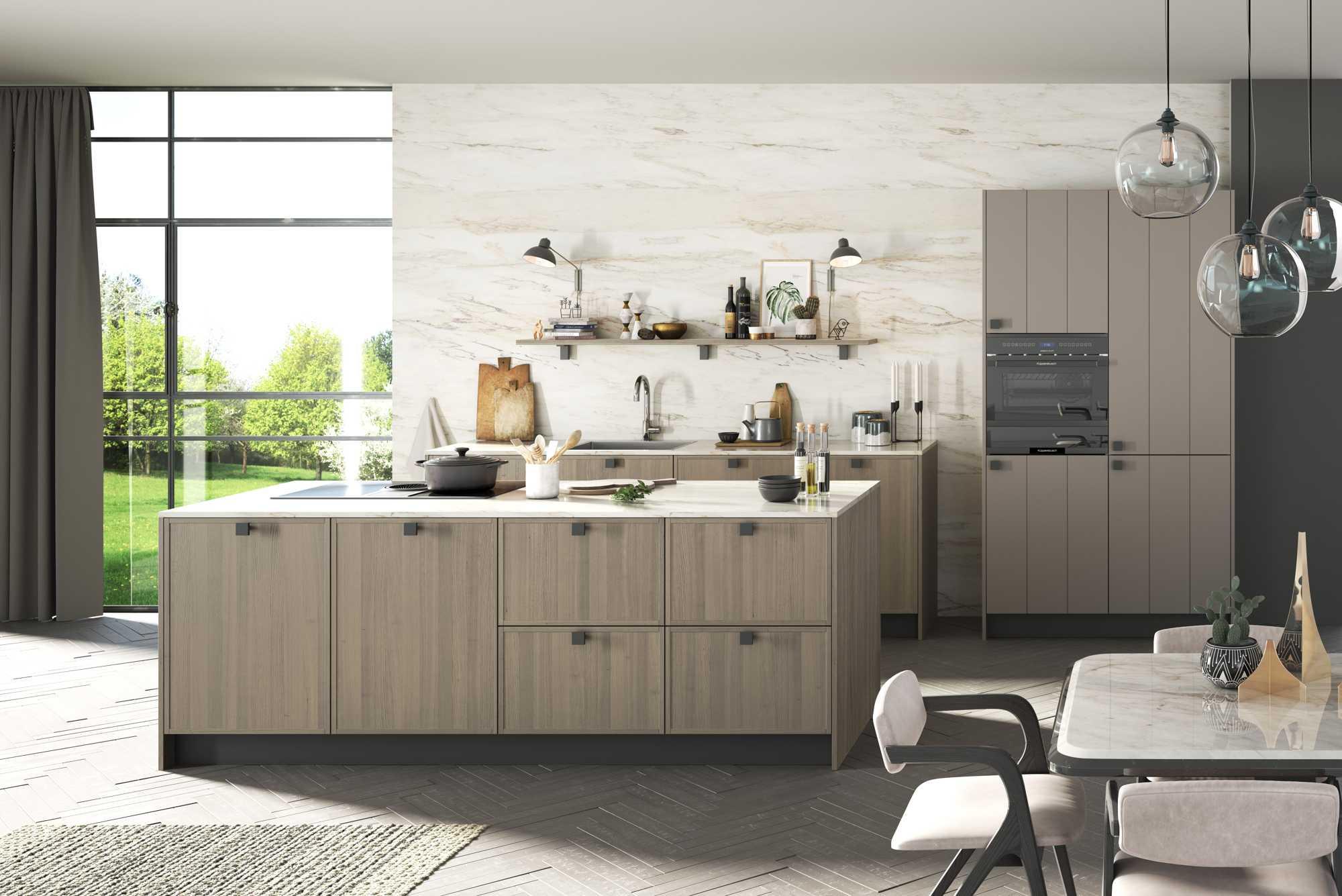 Karo City Fine Matt Grey Oak and Luxio Terry Grey tradition Style Kitchen