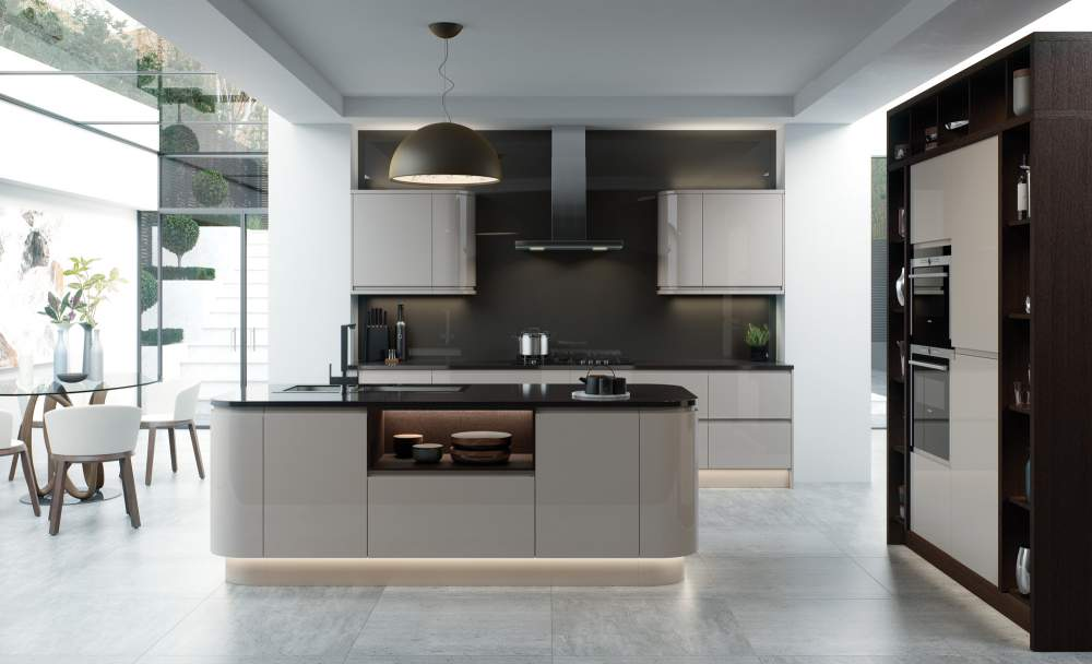 Modern J profile Strada gloss cashmere kitchen