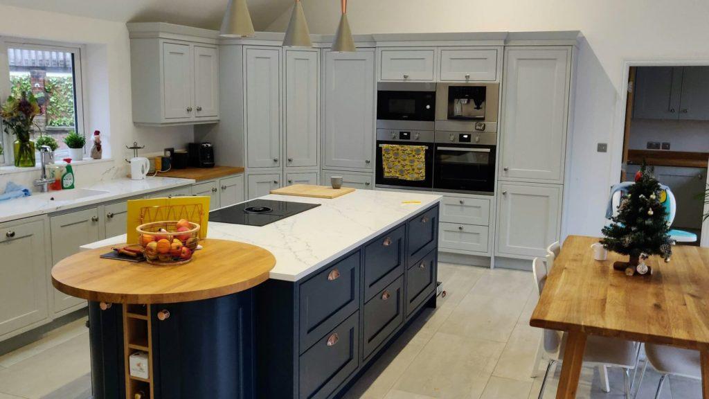 In-frame Light Grey Kitchen, Hague Blue Kitchen Island, Solid oak round Breakfast Bar.