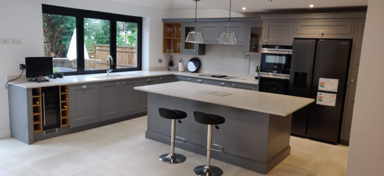 Traditional inframe kitchen in dust grey